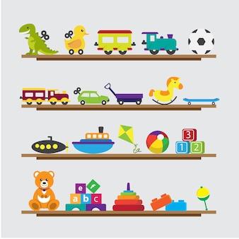 Raccolta di giocattoli per bambini su uno scaffale