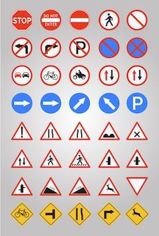 Raccolta di icone dei segni stradali