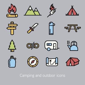 Raccolta di icone di campeggio