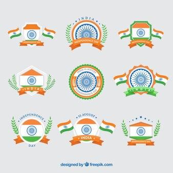 Raccolta di india giornata indipendenza annata insegne