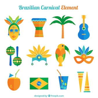 Raccolta di oggetti brasiliani in design piatto