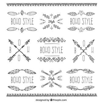 Raccolta di ornamenti boho e adesivi