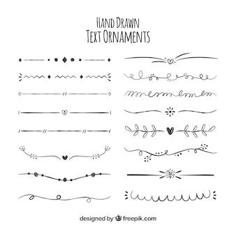 Raccolta di ornamenti disegnati a mano per il testo