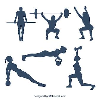 Raccolta di persone che praticano sagome CrossFit