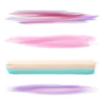 Raccolta di quattro diversi pennelli da acquerello per Illustrator