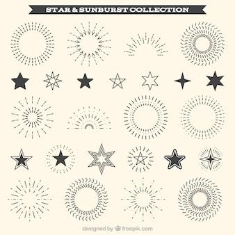 Raccolta di raggera decorativa e stella ornamento