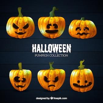 Raccolta di sei zucca di acquerello di Halloween