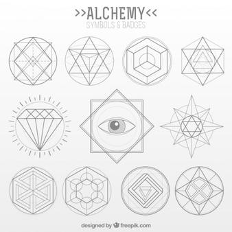 Raccolta di simbolo dell'alchimia in stile lineare