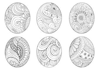 Raccolta di uova disegnate a mano