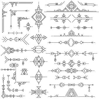 Raccolta di vettore di linea geometrica di elementi di design d'arte
