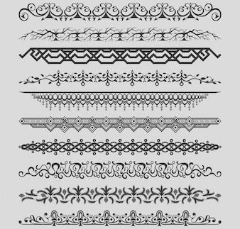 Raccolta di vettori divisori vintage Illustrazione Vettoriale