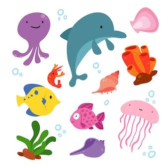 Raccolta illustrazione Sealife