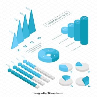 Raccolta isometrica di grafici infographic nei toni blu