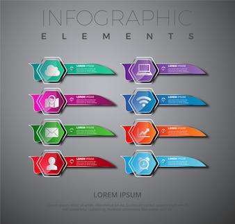 Raccolta multicolore di banner infografici