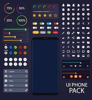 Raccolta telefonica UI Moblie Elementi vettoriali di pacchetto di interfaccia utente Mock-up