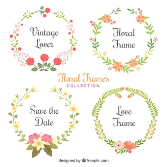 Raccolta utile di cornici dipinte con acquerelli fiori