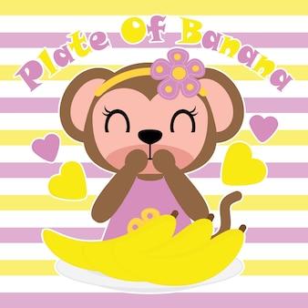 Ragazza di scimmia vuole mangiare piatto di cartone animato di banane vector