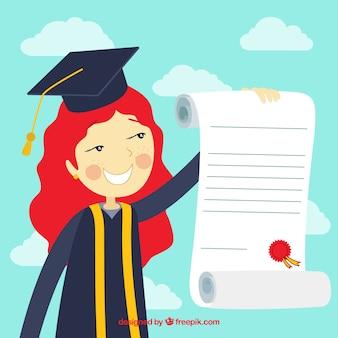 Ragazza universitaria con diploma