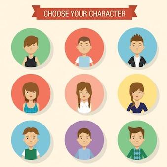 ragazzi e ragazze colorate avatar