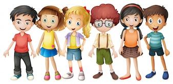 Ragazzi e ragazze in piedi in gruppo illustrazione