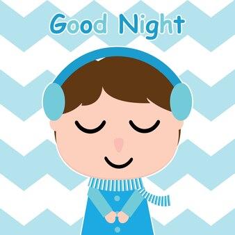Ragazzo carino è l'ascolto di musica su sfondo a righe vettore scatola per la cartolina del capretto e pareti di vivaio, disegno della maglietta per il bambino, illustrazione vettoriale