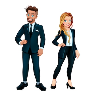Ragazzo e una ragazza elegante vettore isolato personaggi dei cartoni animati