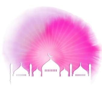 Ramadan sfondo con sagome di moschea su texture acquerello