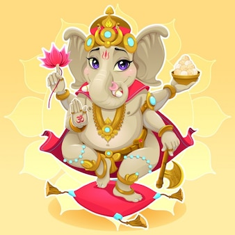 Rappresentazione Ganesh divertente di dio orientale illustrazione vettoriale cartone animato