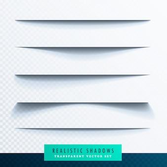Realistico effetto set carta ombra trasparente