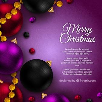 Realistico sfondo Natale in colore viola