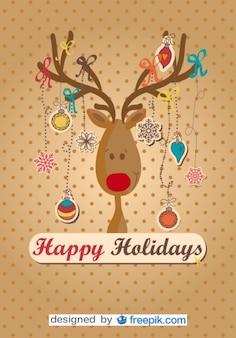 Renne felice fatto albero di Natale