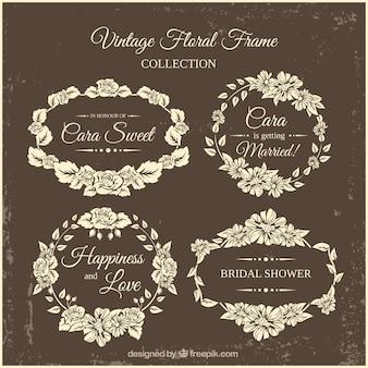 Retro cornici sposa doccia con decorazione floreale