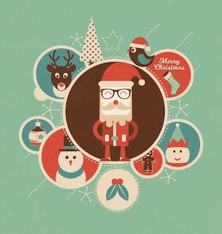 Retro disegno di Natale con i cerchi