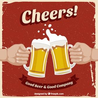 Retro poster con birre