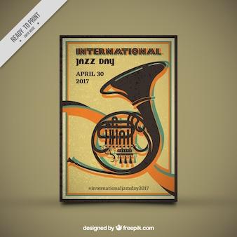 Retro poster internazionale giorno jazz con strumento musicale