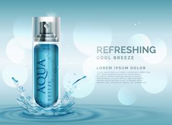 Rinfrescante cosmetici spruzzo pubblicità concetto con spruzzi d'acqua