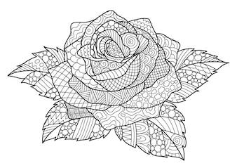 Rosa decorativa disegnata a mano