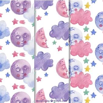 Rosa e viola luna sfondo sonno pattern