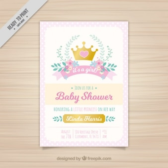 Rosa invito bambino con una principessa corona