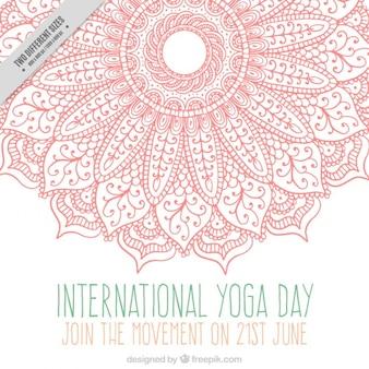 Rosa mano ornamentale disegnato mandala yoga day background