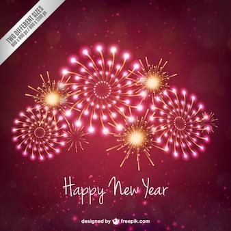 Rosa nuovo anno fuochi d'artificio sfondo