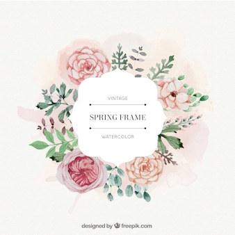 Rose acquerello e foglie telaio elastico