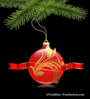 Rosso palla di Natale con gli ornamenti