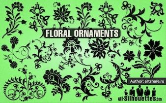 Sagome di fiori e ornamenti vector