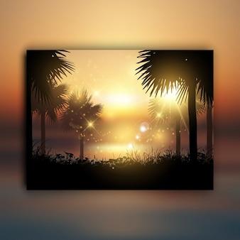 Sagome di palme contro un paesaggio tropicale al tramonto