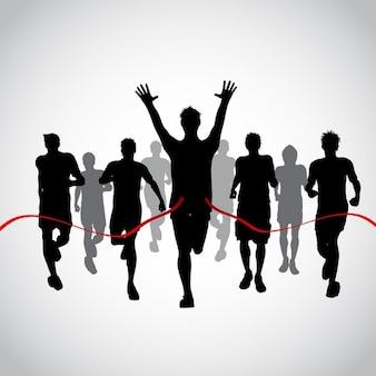 Sagome di uomini di corsa