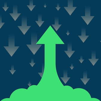 Salita e caduta freccia business concept design