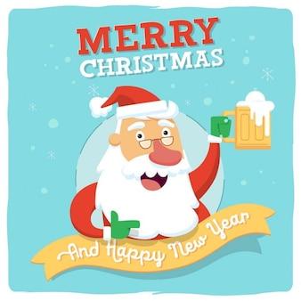 Saluto del Babbo Natale con la birra