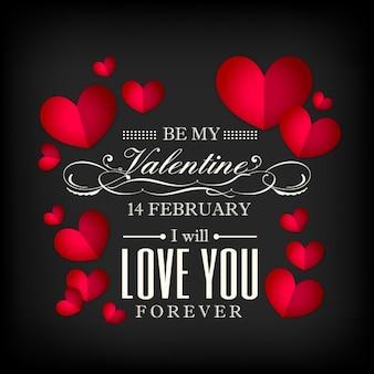 San Valentino vettore forma di cuore rosso su sfondo nero