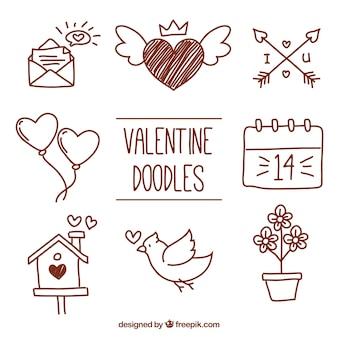 Scarabocchi di elementi di San Valentino insieme